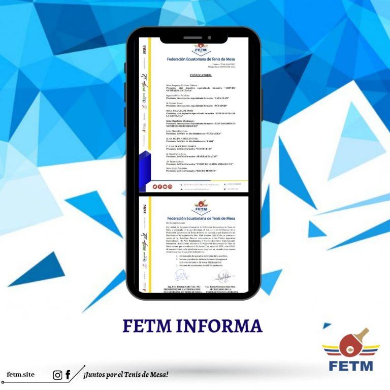 CONVOCATORIA SESIÓN DE ASAMBLEA GENERAL EXTRAORDINARIA FETM 2021